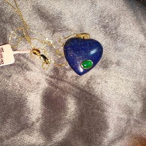 Lapis lazuli with Burmese jade heart necklace